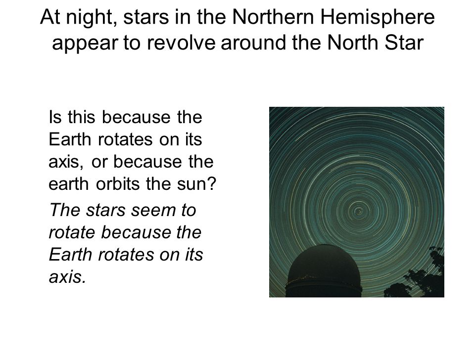 At night, stars in the Northern Hemisphere appear to revolve around the North Star