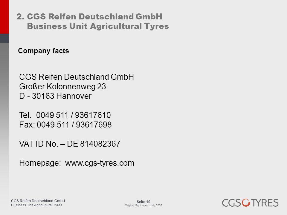 2. CGS Reifen Deutschland GmbH Business Unit Agricultural Tyres