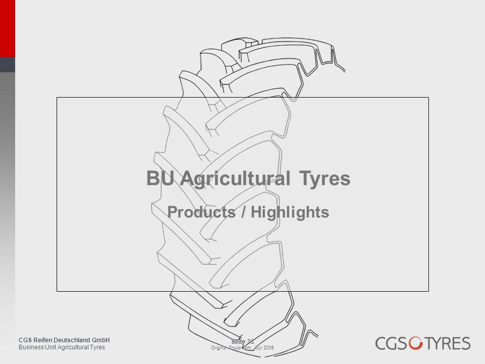 BU Agricultural Tyres Products / Highlights