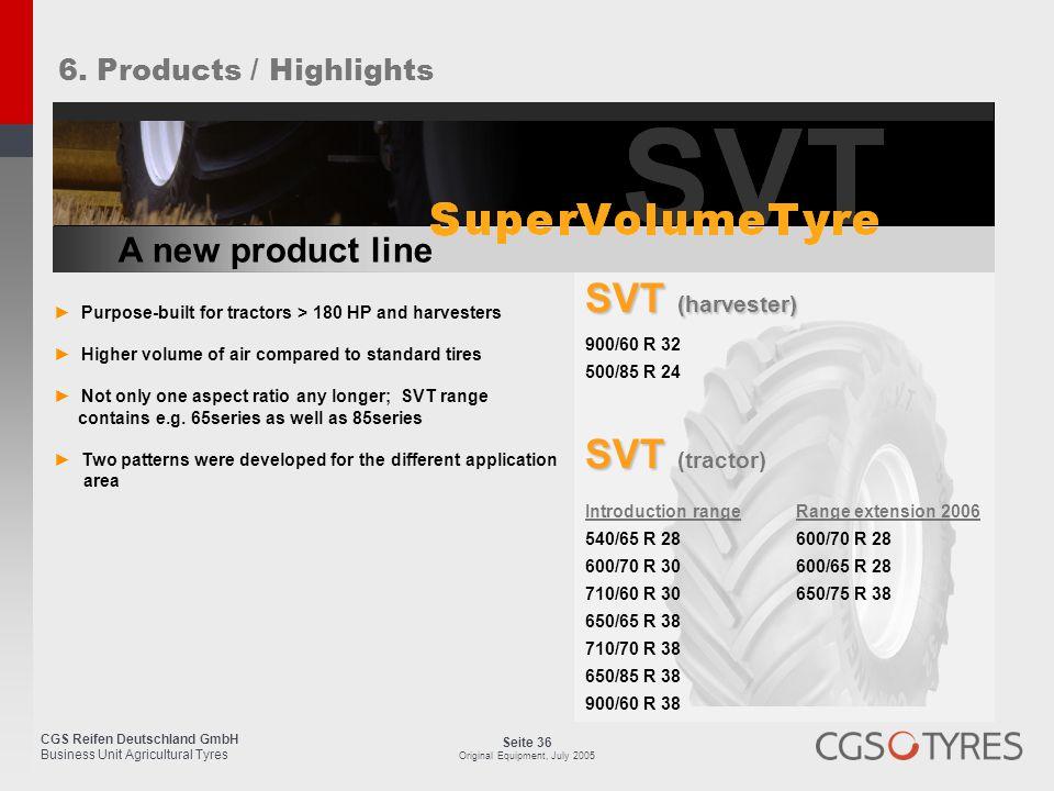 SVT (harvester) SVT (tractor) A new product line