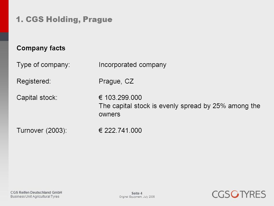 1. CGS Holding, Prague Company facts