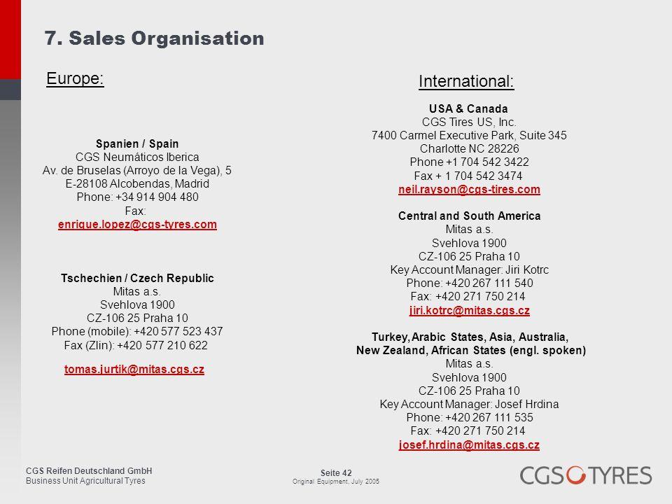 7. Sales Organisation Europe: International: USA & Canada