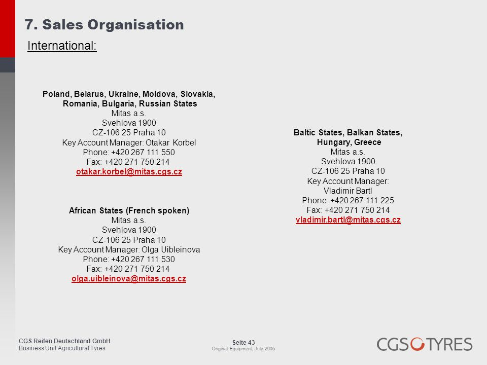 7. Sales Organisation International: