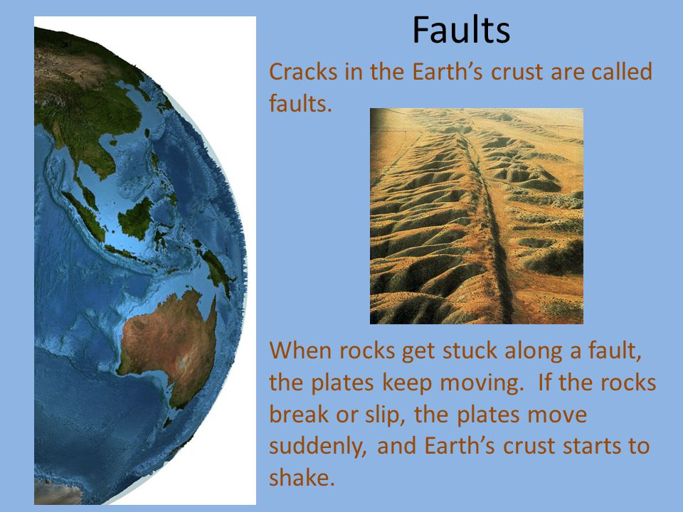 Faults Cracks in the Earth's crust are called faults.