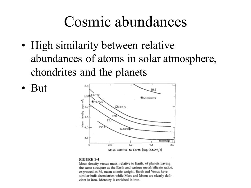 Cosmic abundances High similarity between relative abundances of atoms in solar atmosphere, chondrites and the planets.