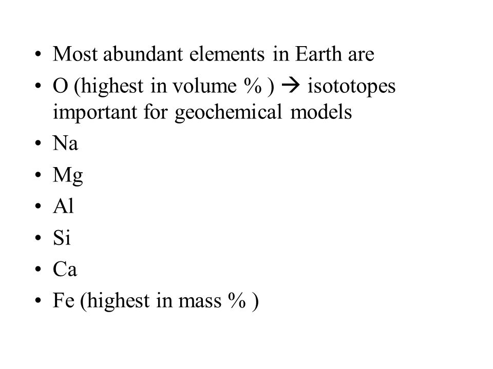 Most abundant elements in Earth are