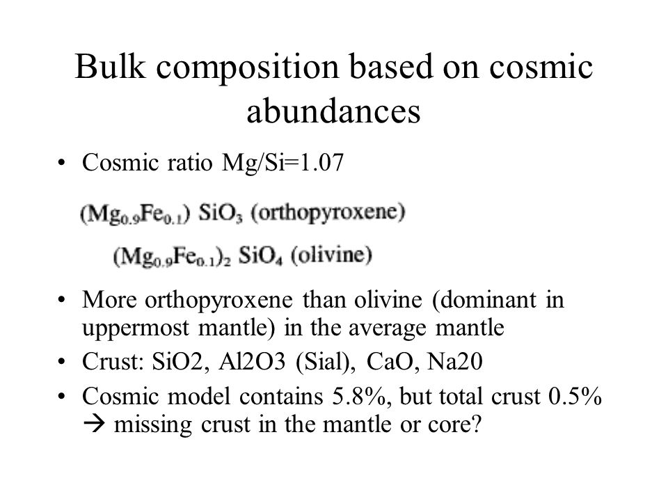 Bulk composition based on cosmic abundances
