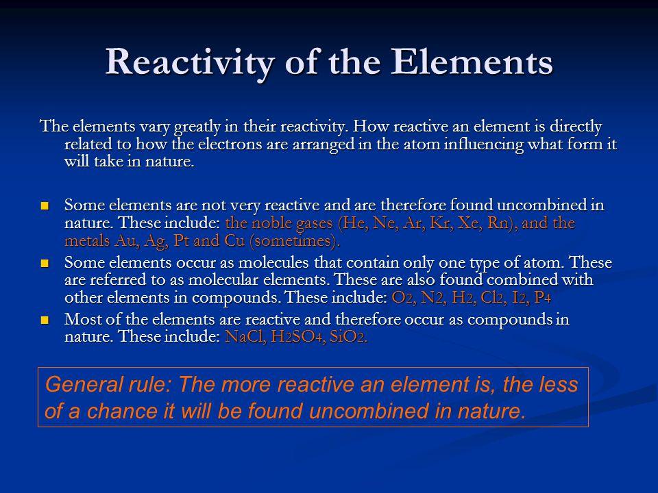 Reactivity of the Elements