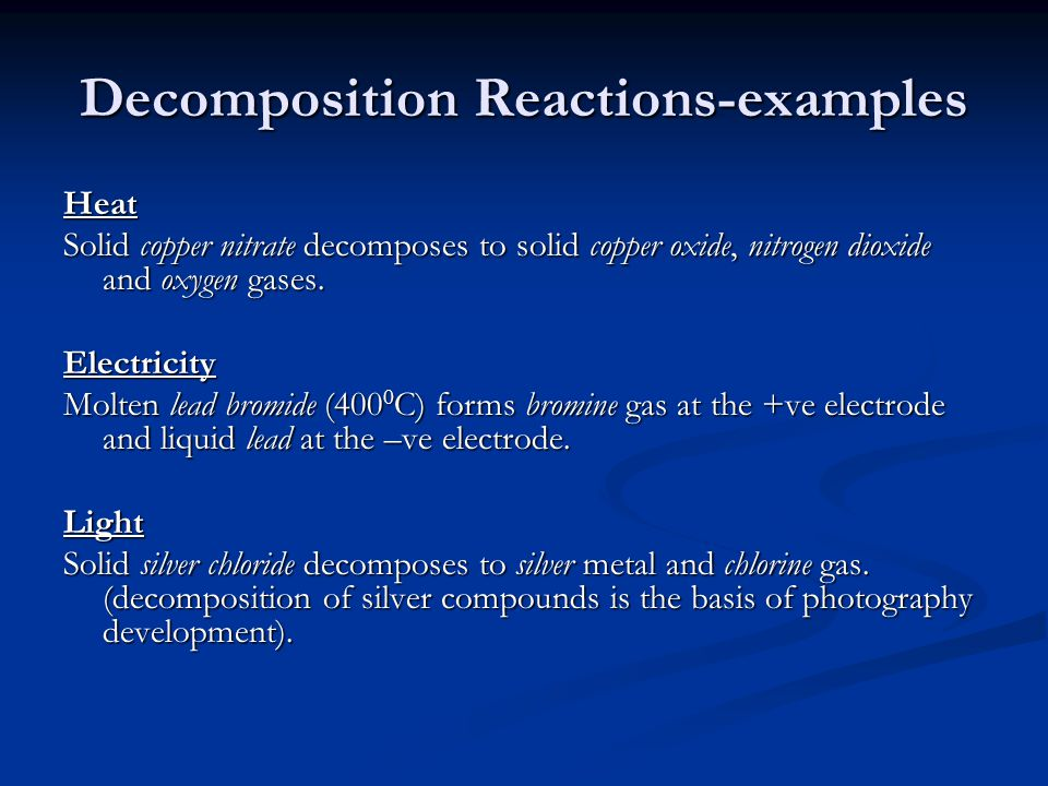 Decomposition Reactions-examples