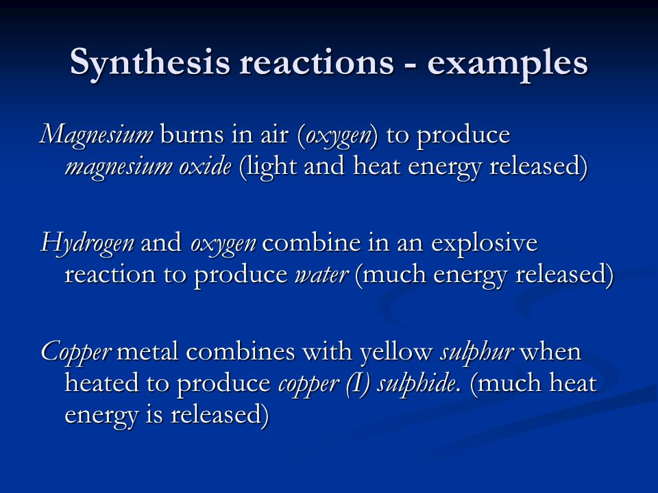 Synthesis reactions - examples