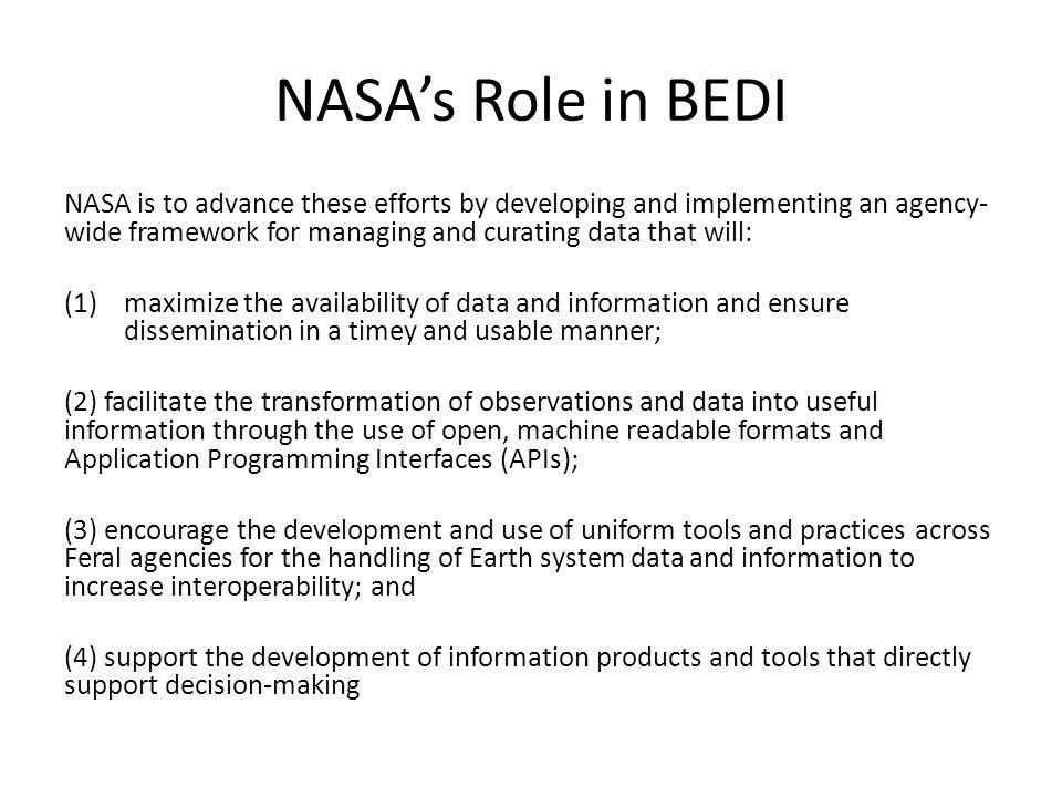 NASA's Role in BEDI