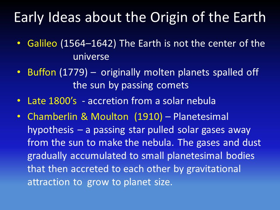 Early Ideas about the Origin of the Earth