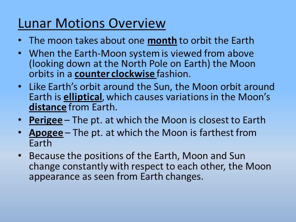 Lunar Motions Overview