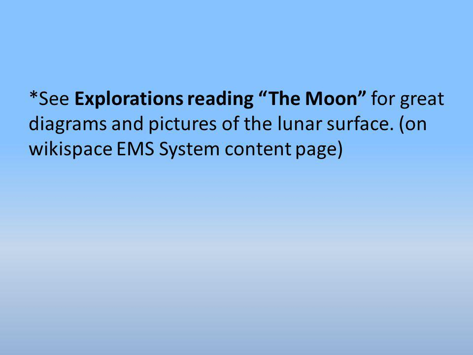 *See Explorations reading The Moon for great diagrams and pictures of the lunar surface.