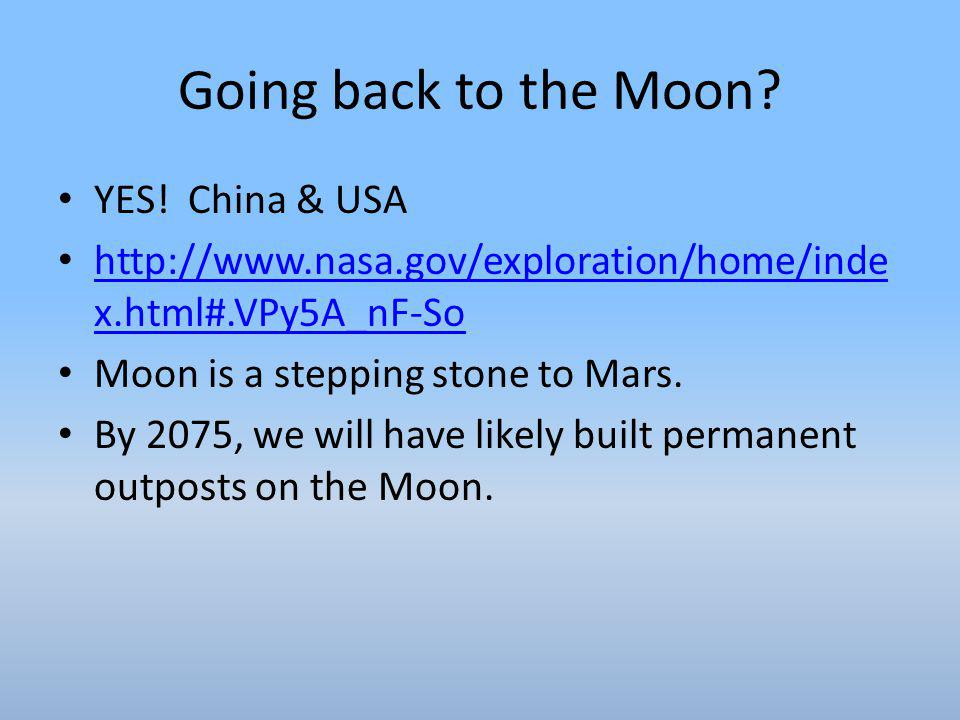 Going back to the Moon YES! China & USA
