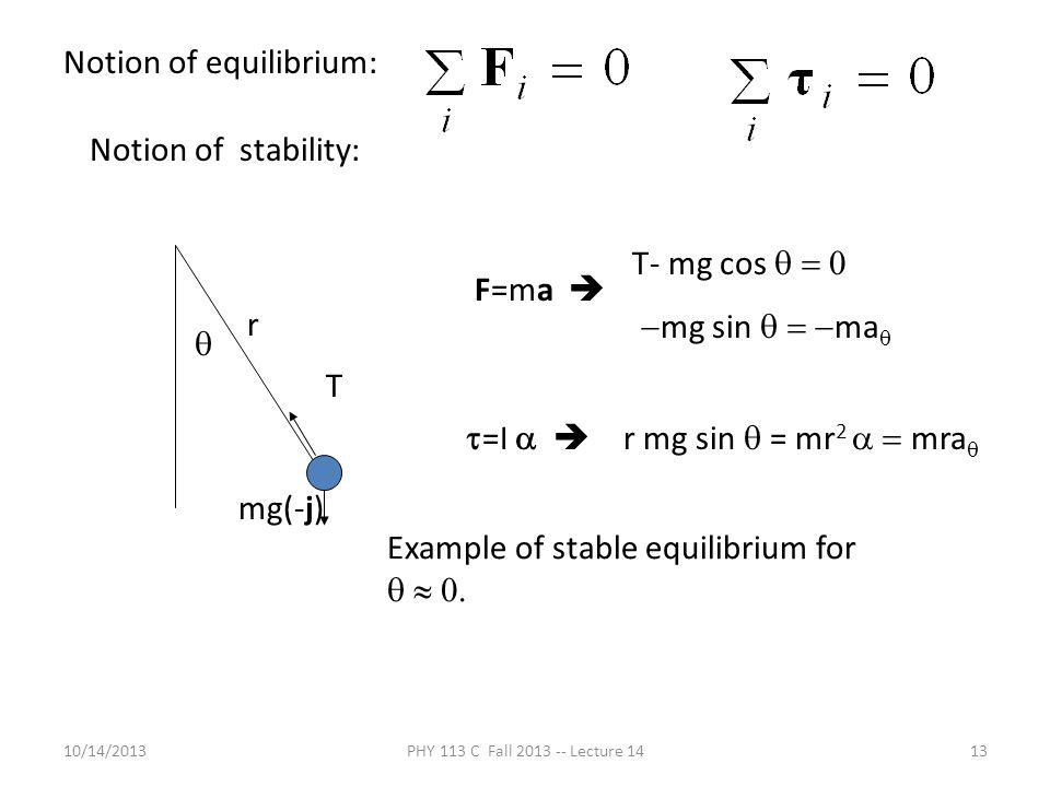 Notion of equilibrium: