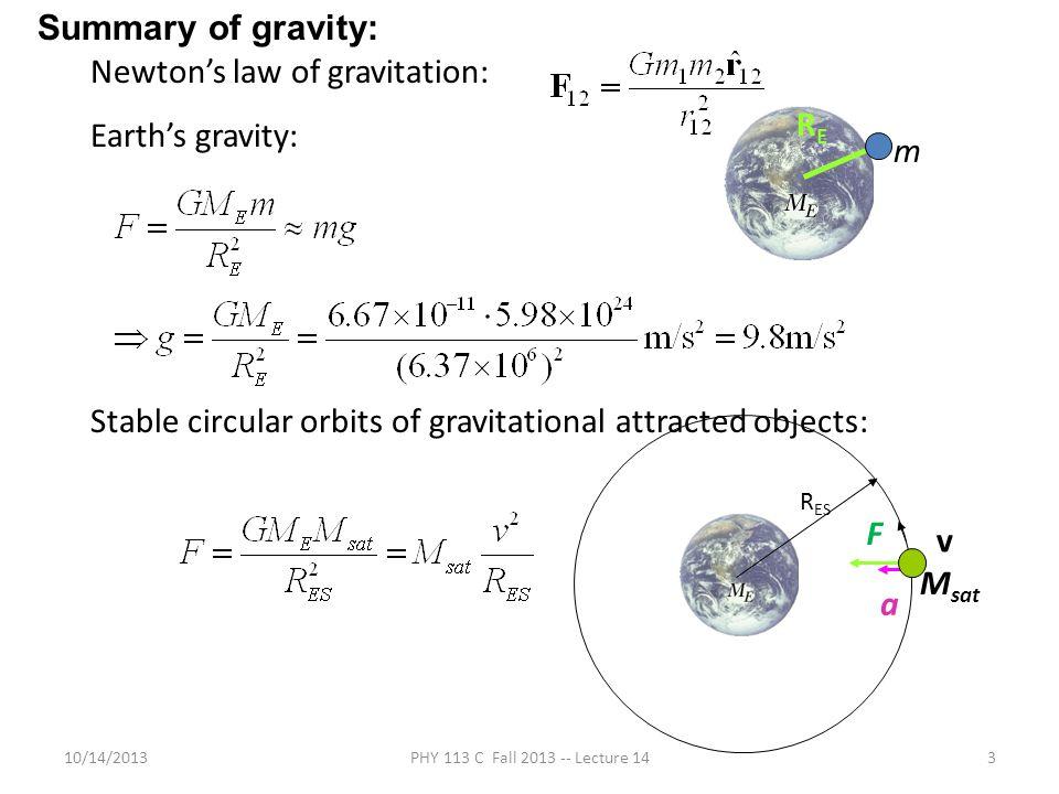 Newton's law of gravitation: Earth's gravity: