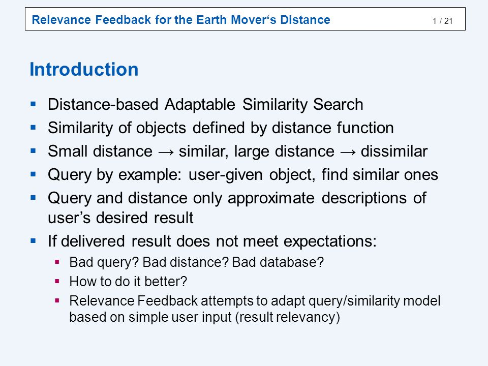 RF for EMD Relevance Feedback Earth Mover's Distance RF EMD