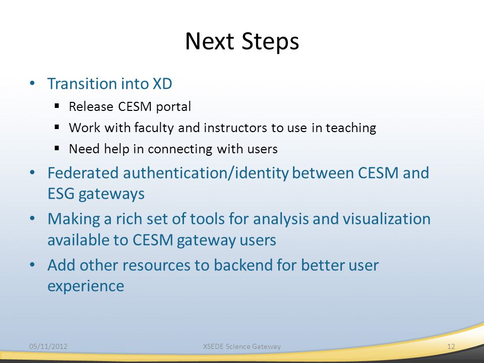 Next Steps Transition into XD