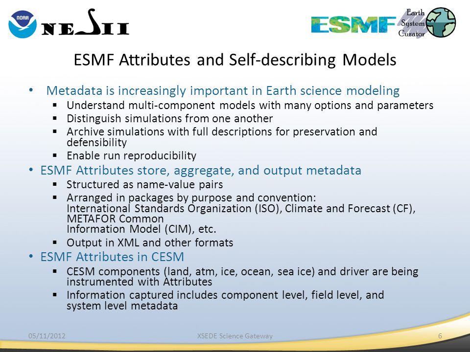 ESMF Attributes and Self-describing Models