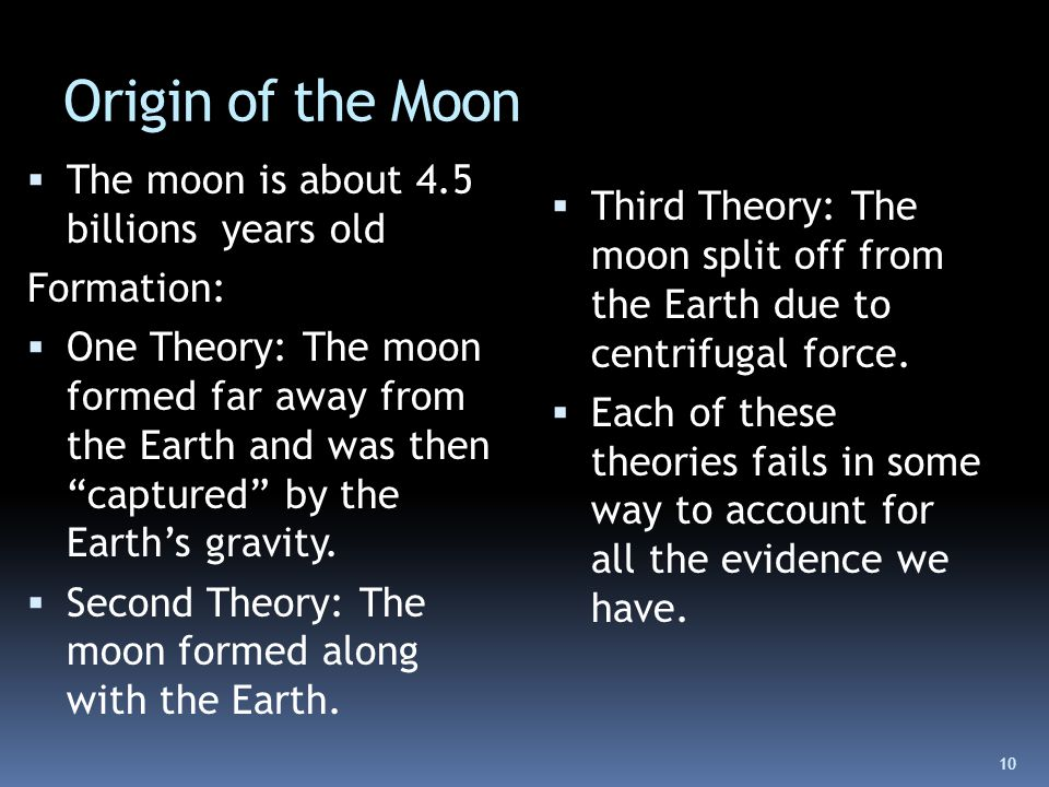 an overview of theories of the origin of the moon Alternate theories of moon formation throughout history scientist have dealt with the question of how our moon was formed.