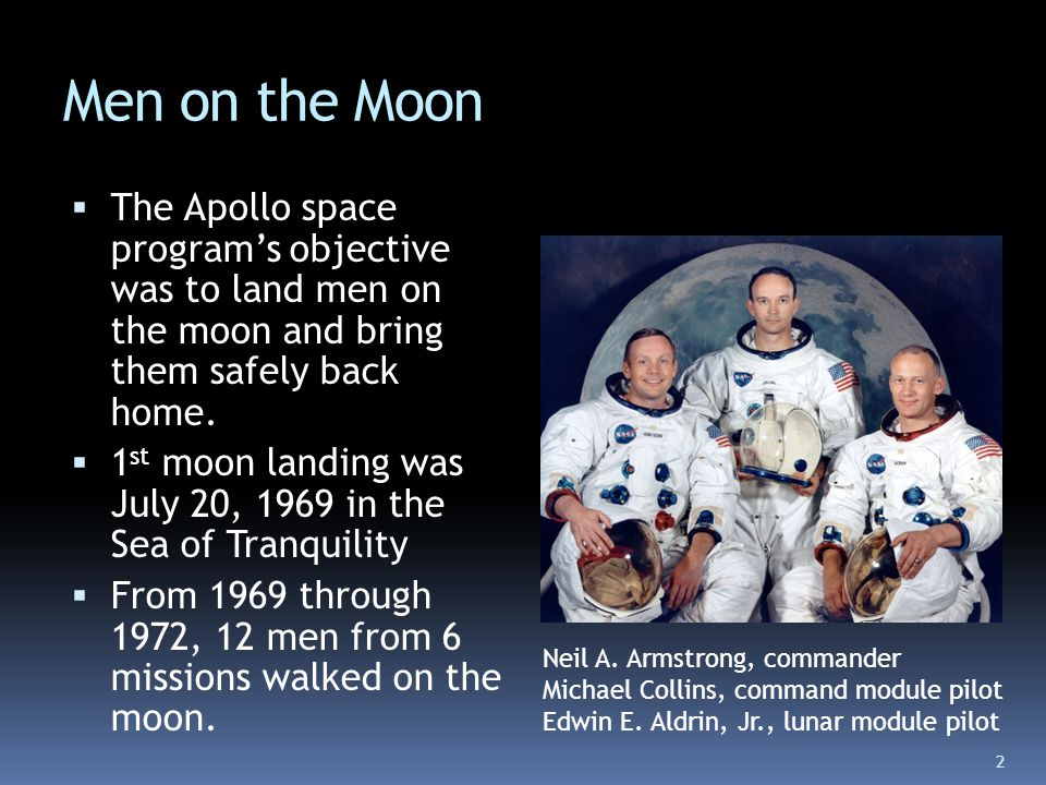 Men on the Moon The Apollo space program's objective was to land men on the moon and bring them safely back home.