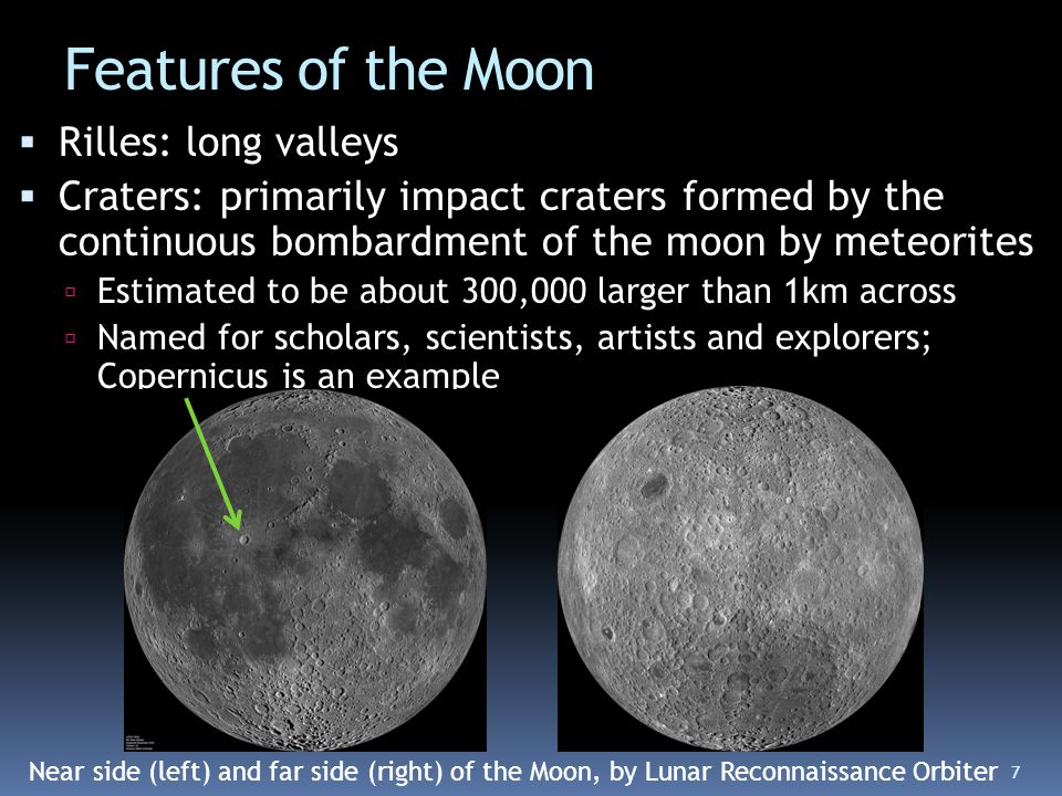 Features of the Moon Rilles: long valleys