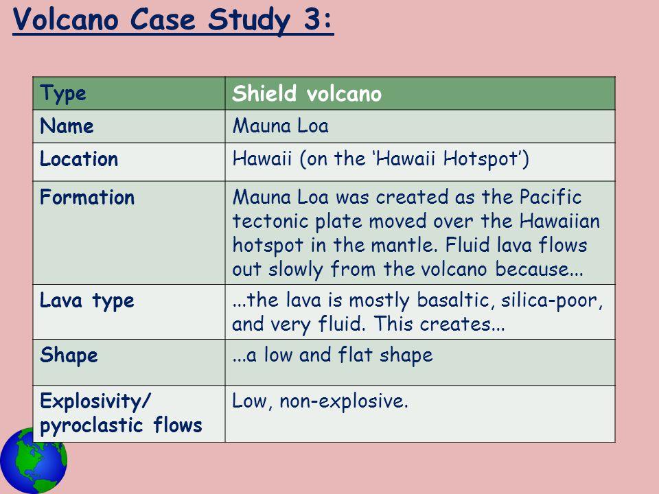 Volcano Case Study 3: Shield volcano Type Name Mauna Loa Location