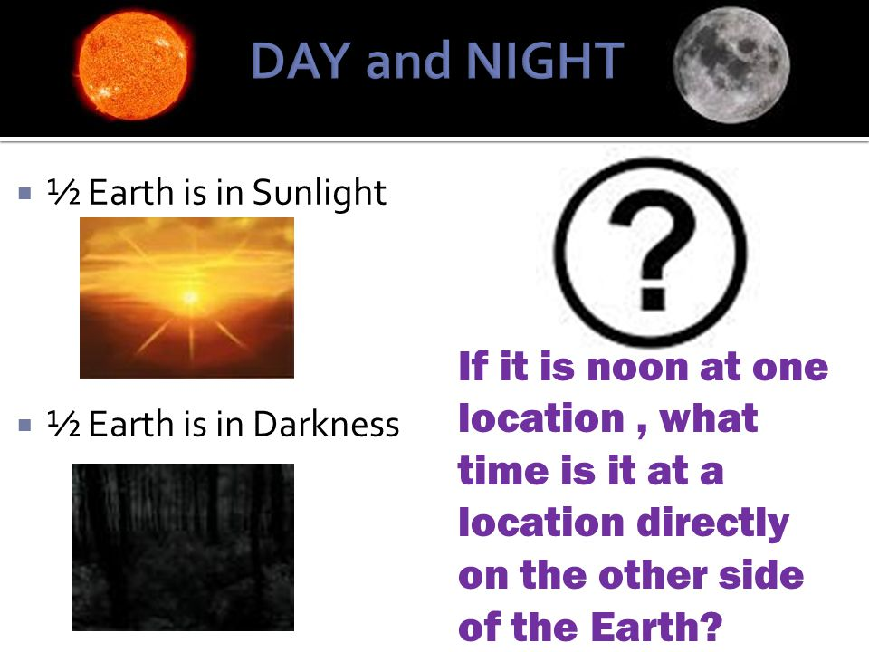 DAY and NIGHT ½ Earth is in Sunlight. ½ Earth is in Darkness.