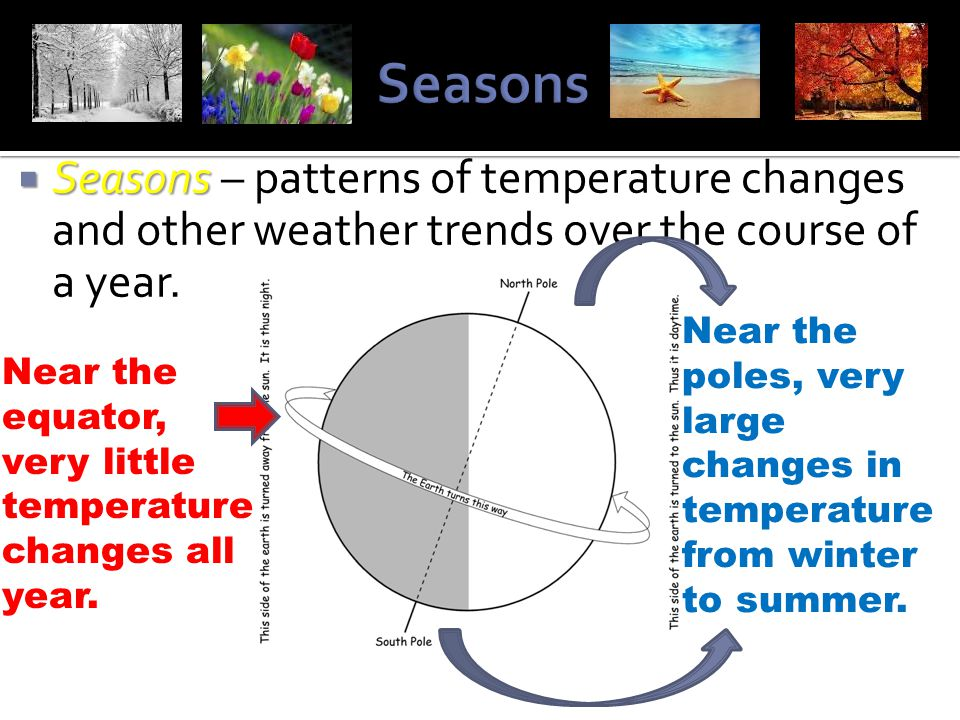 Seasons Seasons – patterns of temperature changes and other weather trends over the course of a year.