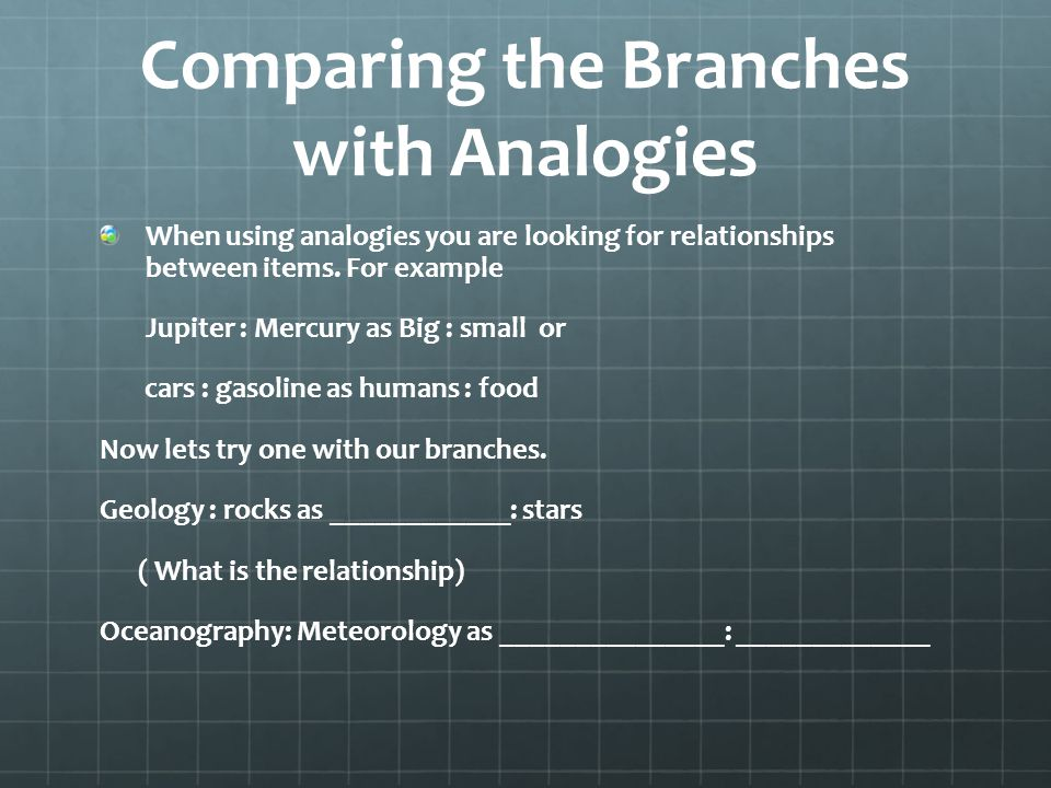 Comparing the Branches with Analogies