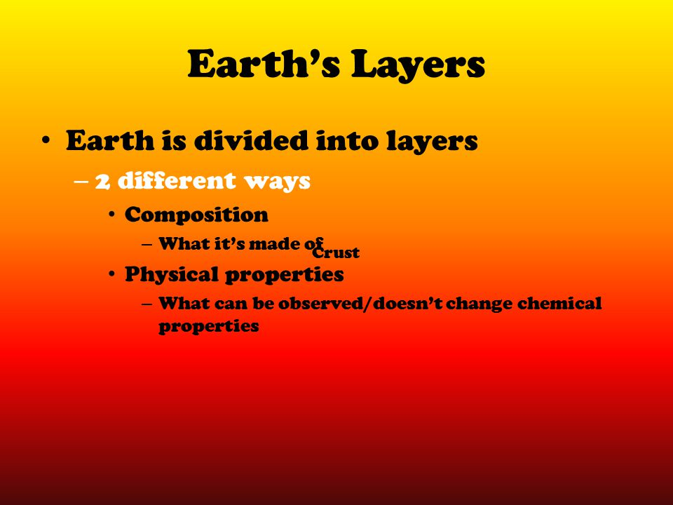 Earth's Layers Earth is divided into layers 2 different ways