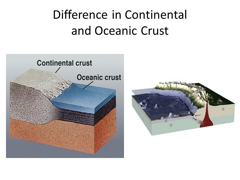 Difference in Continental and Oceanic Crust
