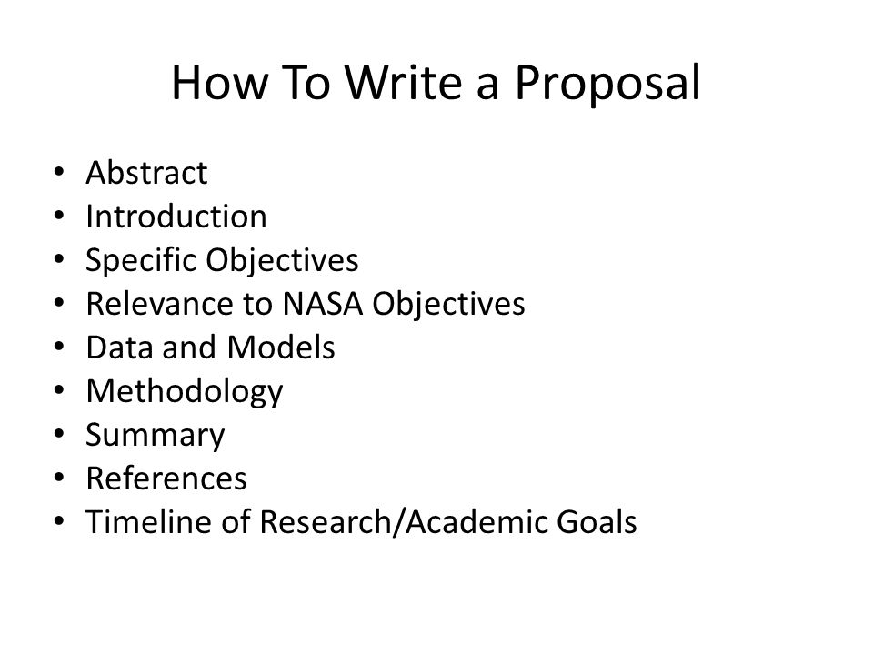 How To Write a Proposal Abstract Introduction Specific Objectives