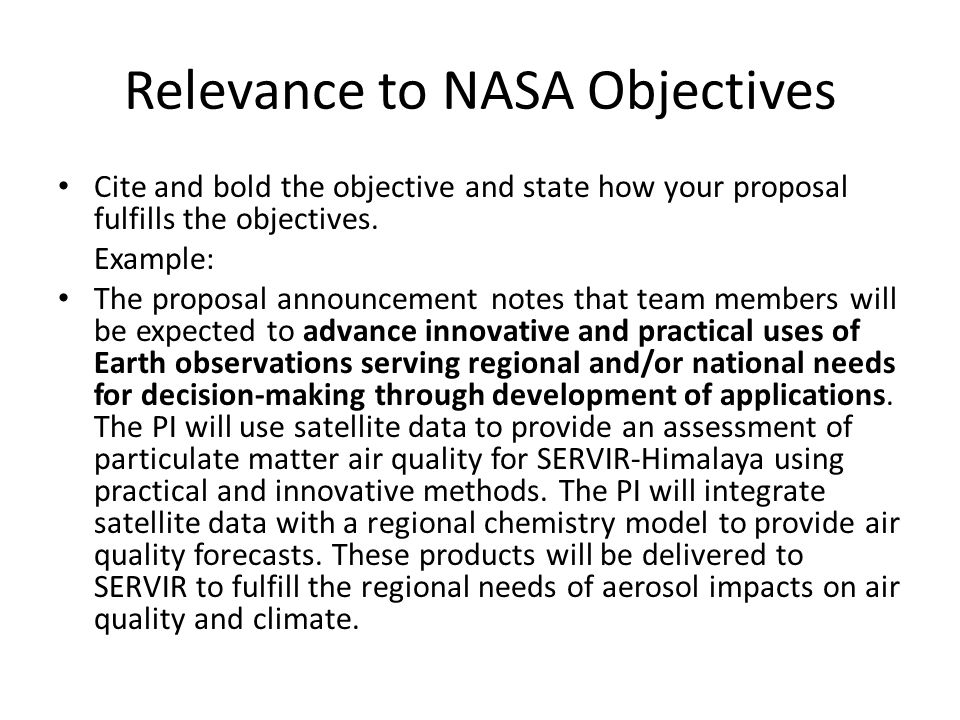 Relevance to NASA Objectives