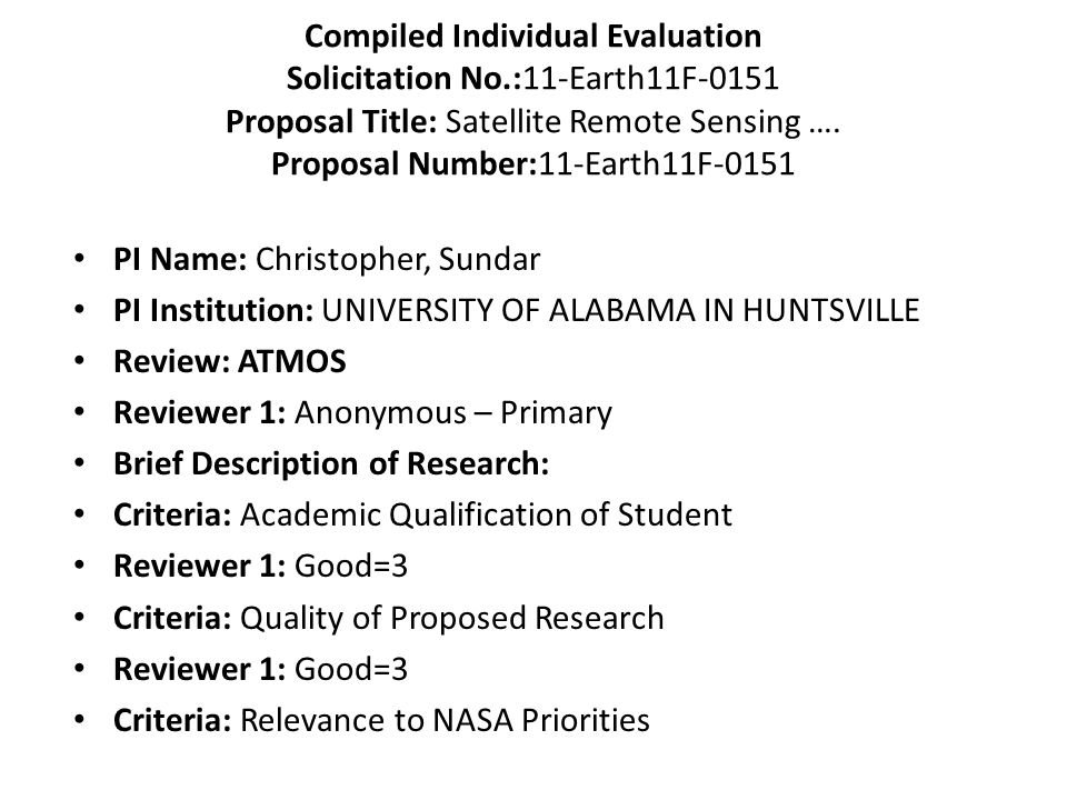 Compiled Individual Evaluation Solicitation No