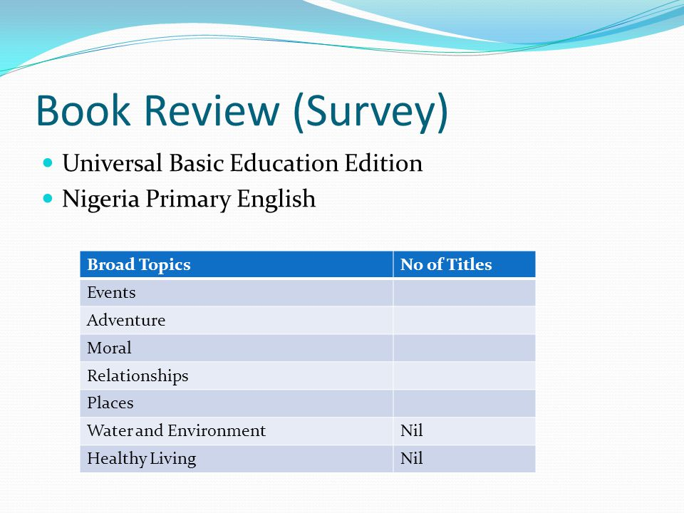 Book Review (Survey) Universal Basic Education Edition