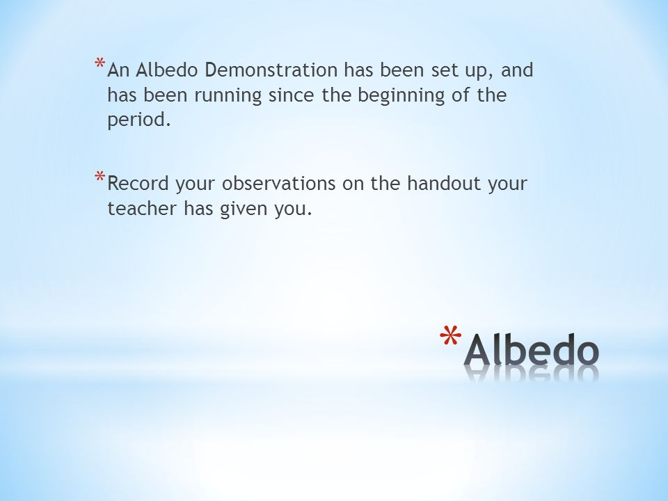 An Albedo Demonstration has been set up, and has been running since the beginning of the period.