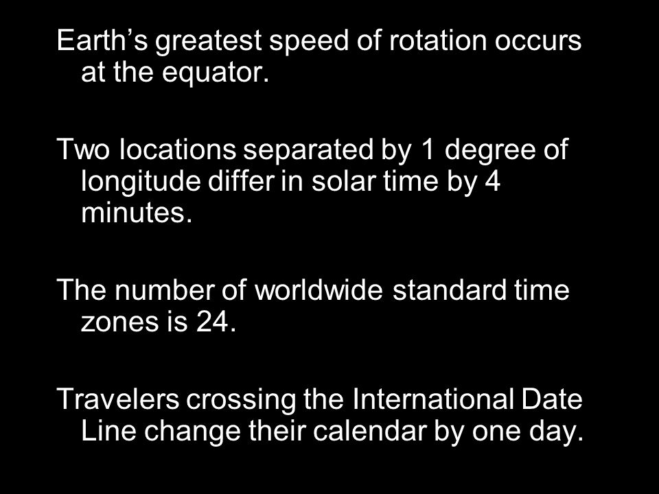 Earth's greatest speed of rotation occurs at the equator.