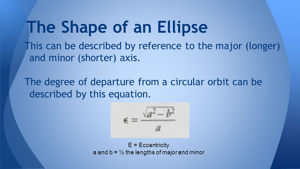 a and b = ½ the lengths of major and minor