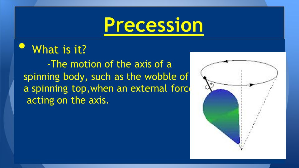 Precession What is it -The motion of the axis of a