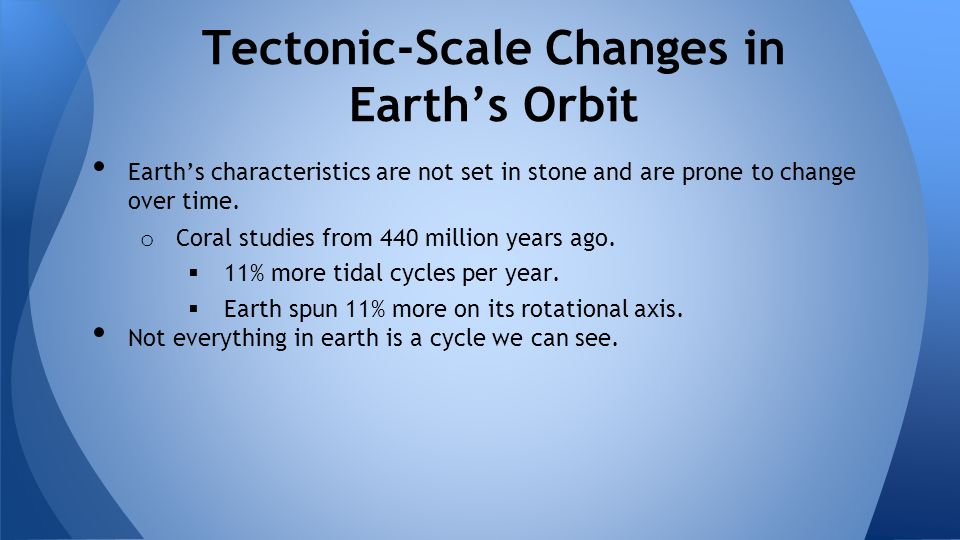Tectonic-Scale Changes in Earth's Orbit
