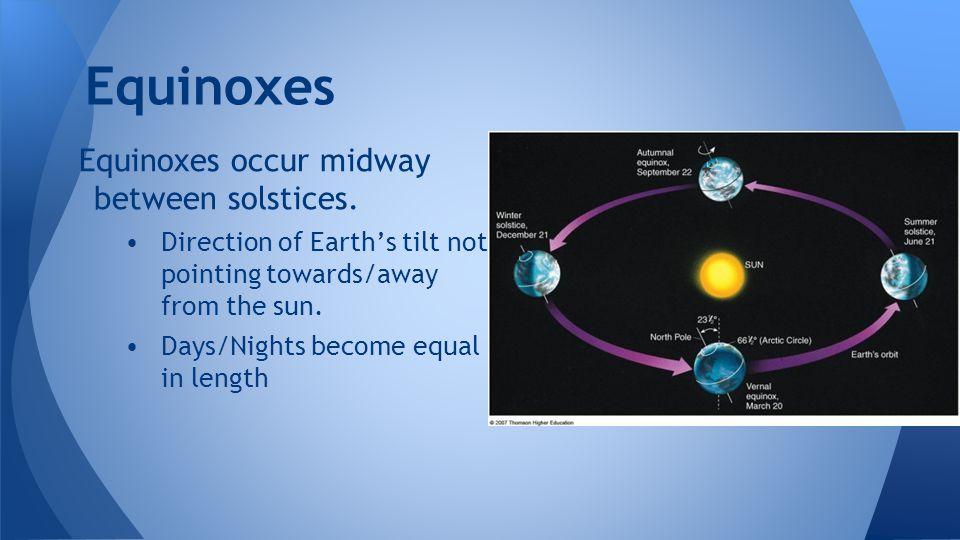 Equinoxes Equinoxes occur midway between solstices.