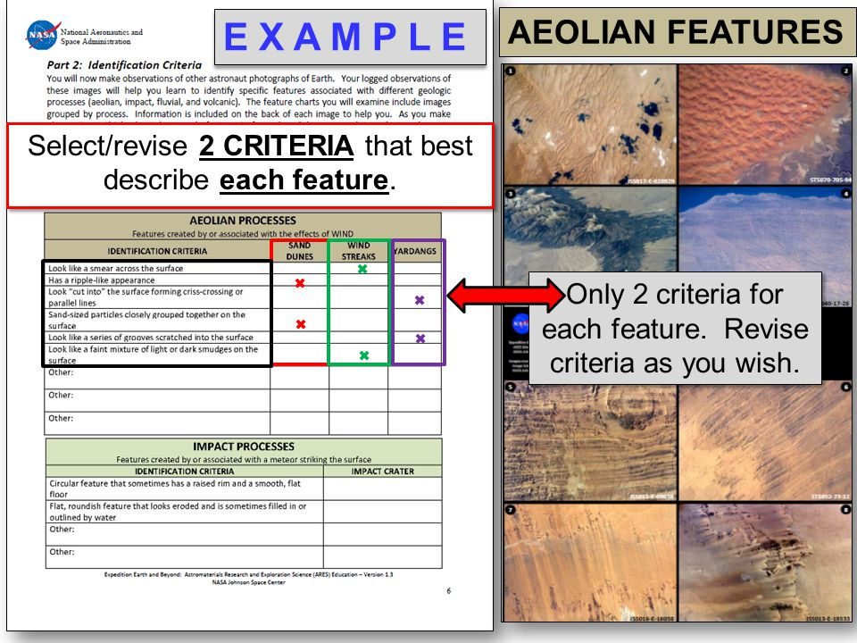 E X A M P L E AEOLIAN FEATURES