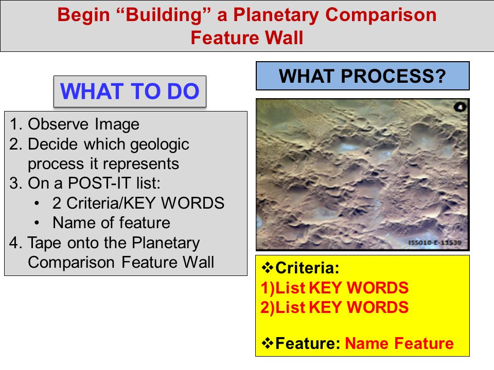 Begin Building a Planetary Comparison