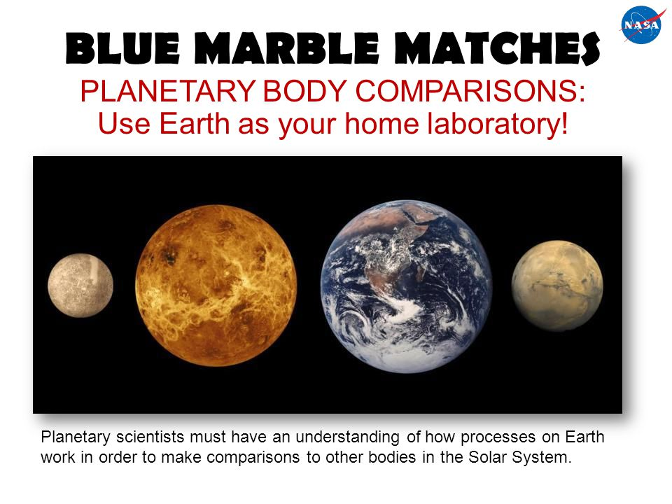 BLUE MARBLE MATCHES PLANETARY BODY COMPARISONS: