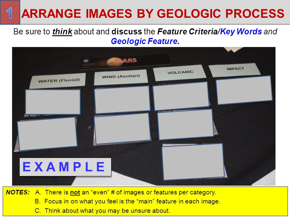 ARRANGE IMAGES BY GEOLOGIC PROCESS