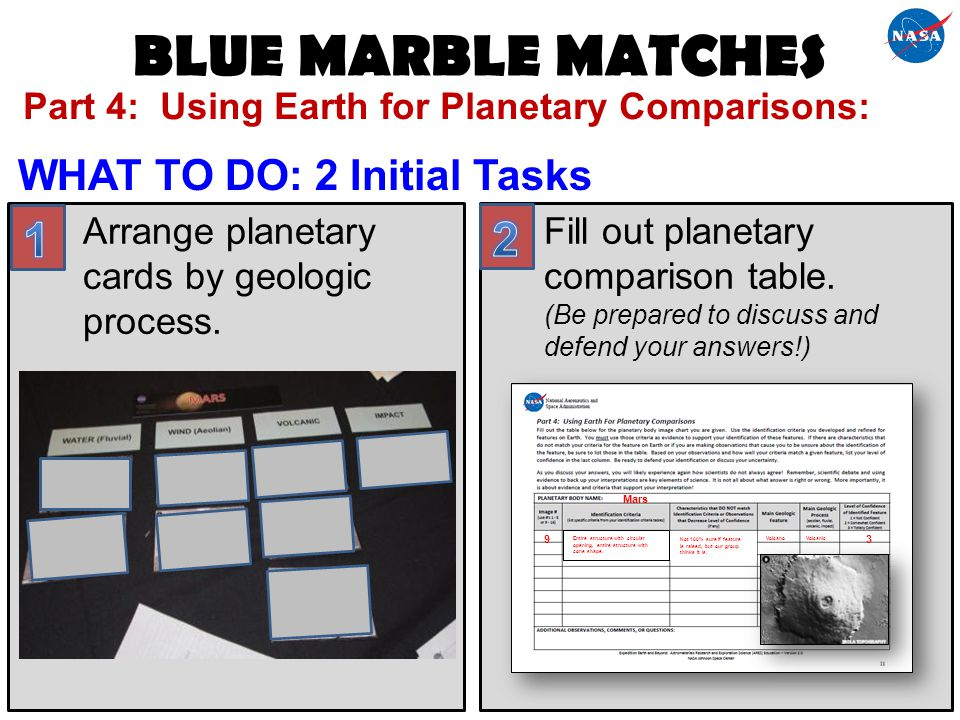 BLUE MARBLE MATCHES 1 2 WHAT TO DO: 2 Initial Tasks