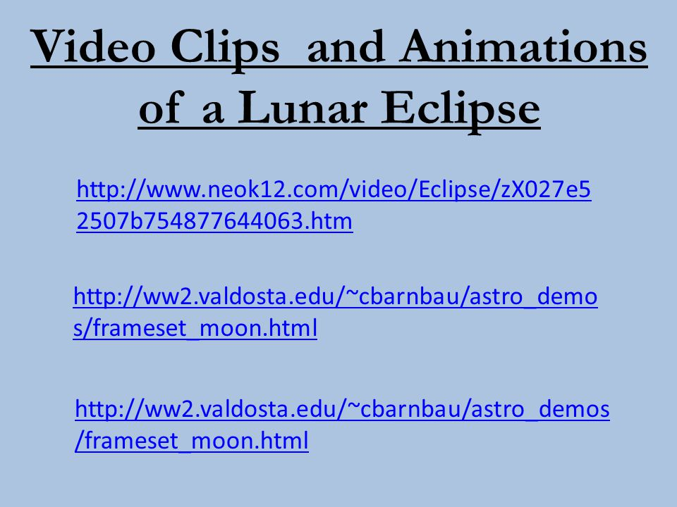 Video Clips and Animations of a Lunar Eclipse