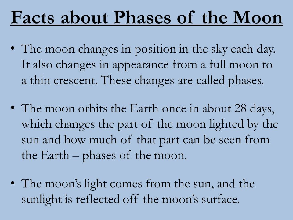 Facts about Phases of the Moon